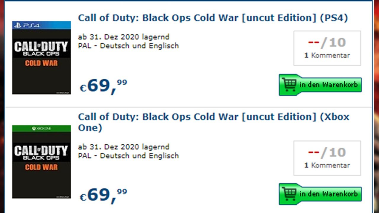 Cod 2020 Officially Listed For Pre Order Online Call Of Duty 2020