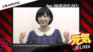 Aimi : AFAMY 2012 I love Anisong Super Anisong Genki Live! Message Video for fans