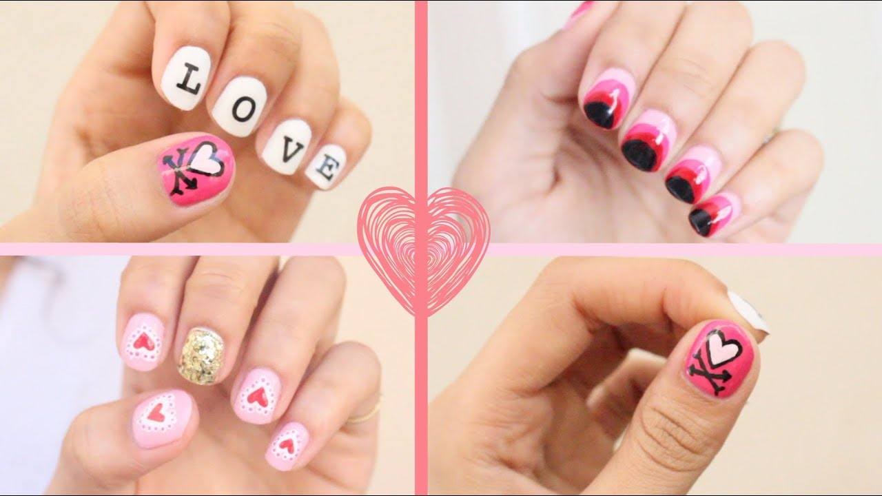 2016 Valentines Day Nail Art 3 Easy Designs Youtube