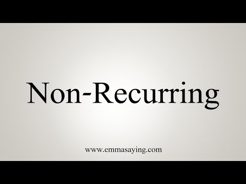 How To Say Non-Recurring.