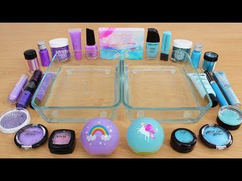 Lavender vs Blue - Mixing Makeup Eyeshadow Into Slime Special Series 197 Satisfying Slime Video