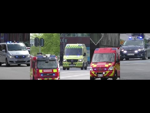 Fire Brigade Ambulance Police Urgently to Several Reports In Copenhagen
