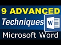 - 9 little known Advanced Techniques of Microsoft Word