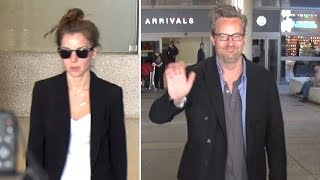 Matthew Perry All Smiles With Mystery Woman At LAX