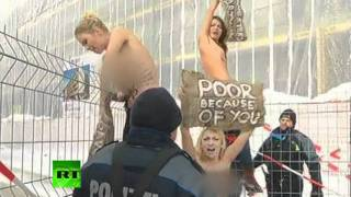 Repeat youtube video Femen topless protest video: 'Gangsta party in Davos'