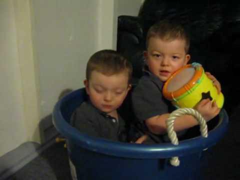 twins stuck in a bucket 😂😂