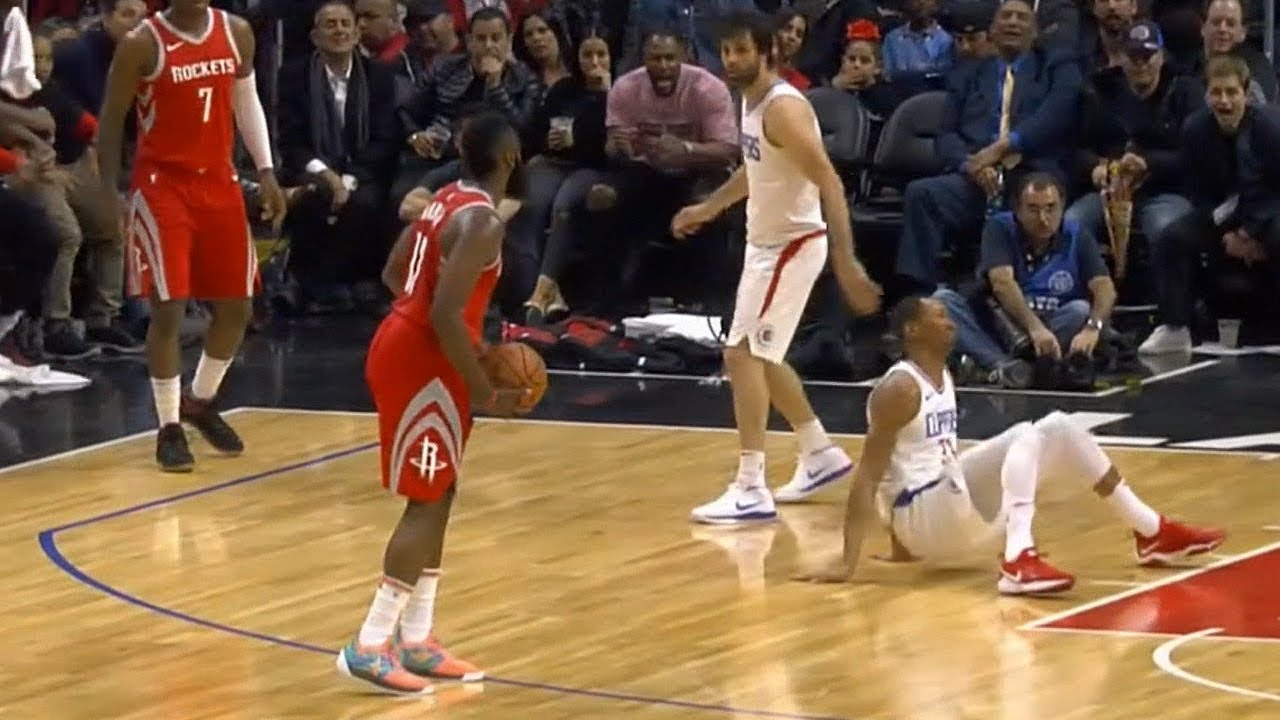 77bd2b9ca64 James Harden drops Wesley Johnson and then stares him down! - YouTube