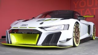 At the 2019 goodwood festival of speed audi have shown off r8 lms gt2 new race version built for racing which starts in 2020. we were g...