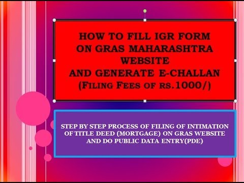 How to fill Intimation of title deed (mortgage) on GRAS website (IGR) - Home loan - 1000 echallan