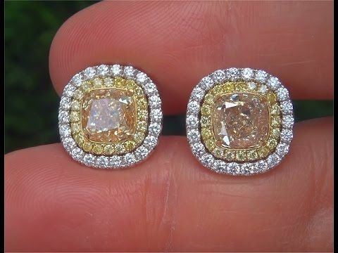 Gia Certified Untreated Natural Vs Fancy Yellow Diamond 18k Gold Tail Earrings C371