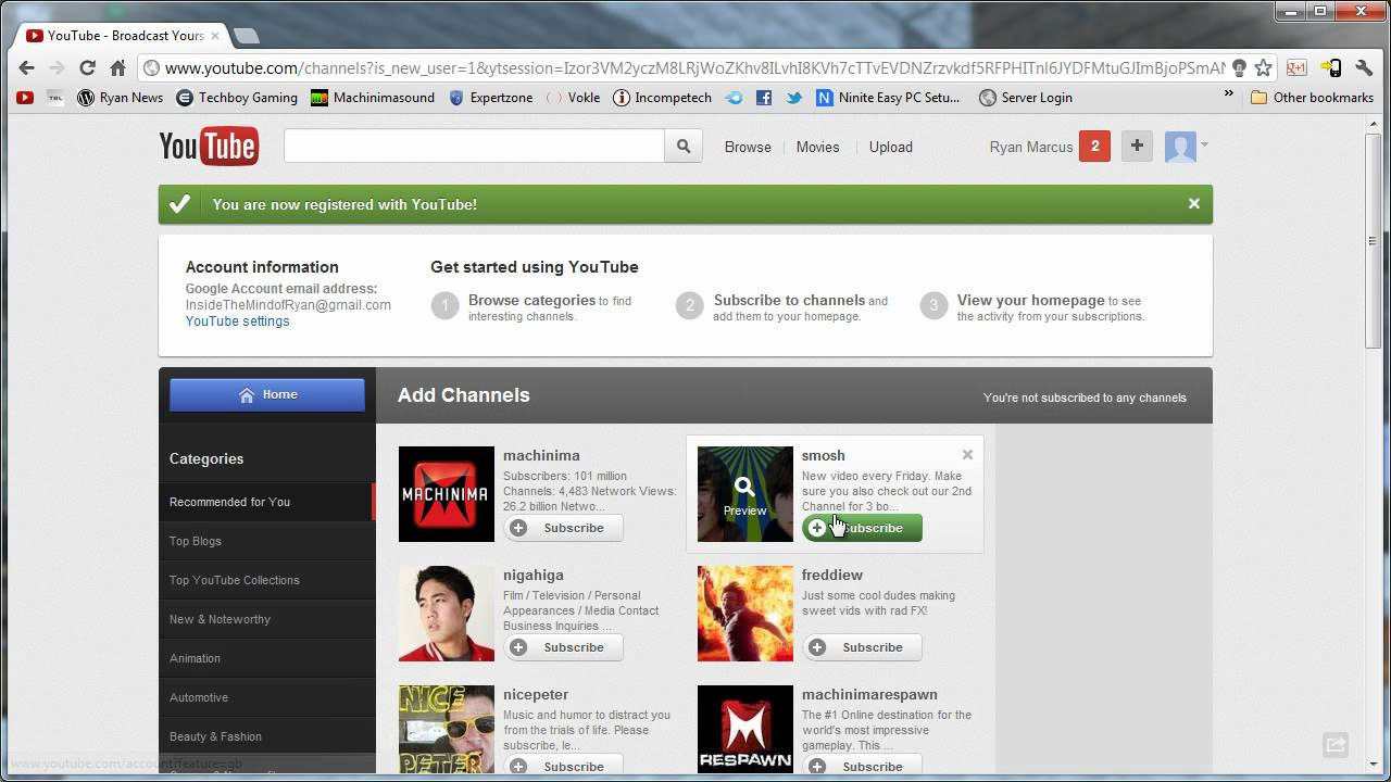 How to Create A YouTube Account (2012) - YouTube