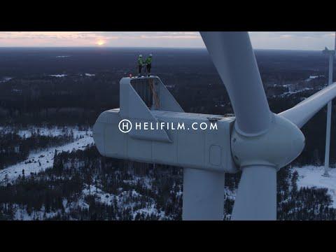 6751. Vindkraftverk (Wind Turbine) Drone Stock Footage Video