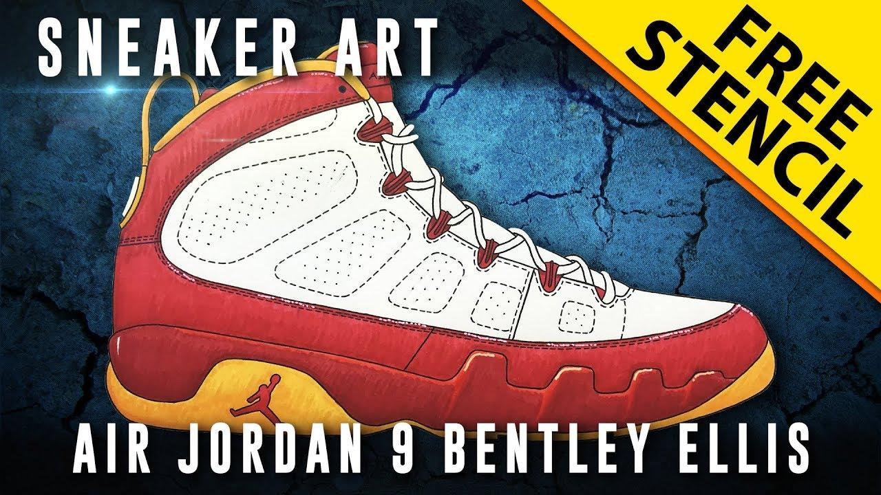 c14208c89828d2 Sneaker Art  Air Jordan 9 Bentley Ellis w  Downloadable Stencil ...