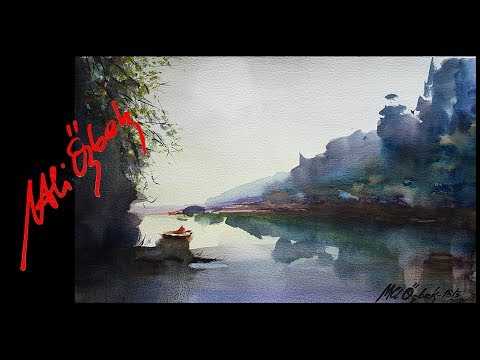 How to paint Desolate Lake – Watercolor painting demo by Me and Orhan Gürel (long version)
