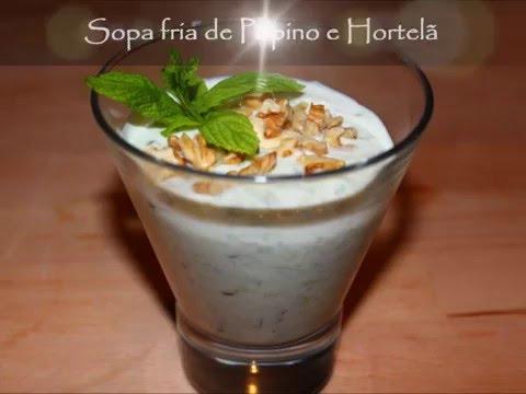 Sopa fria de Pepino e Hortelã
