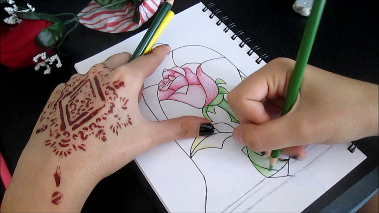 Drawing The Beauty And Beast Stained Glass Rose