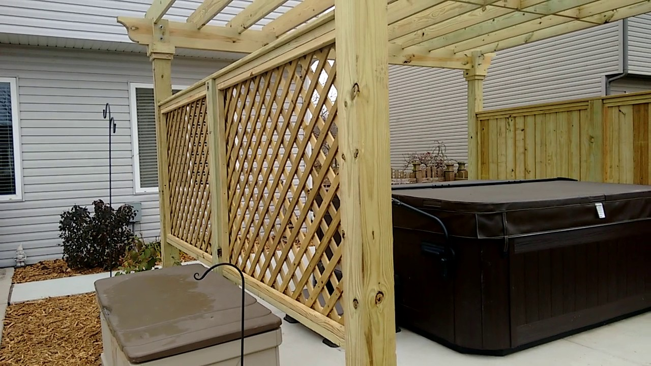 Pressure Treated Pine Pergola Hot Tub Surround - Pressure Treated Pine Pergola Hot Tub Surround - YouTube