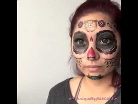 Day Of The Dead Face Tattoo Youtube