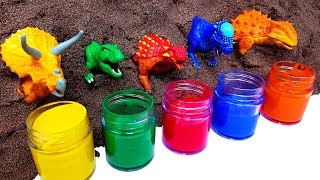 Learn Colors with Lots of dinosaurs for kids. Colours Educational sand play movie for children