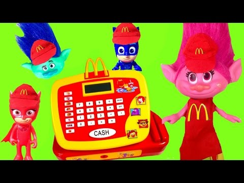 Trolls Movie Poppy and PJ Masks Work McDonald's Register with Happy Meal Toys