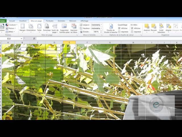 12 MS Excel : Onglet Mise en Page : Mise En Page
