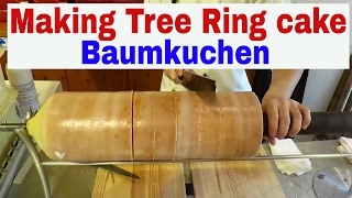 Making Tree Ring cake (Baumkuchen)