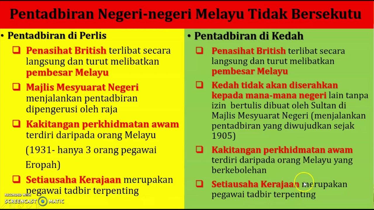 Ting 3 Bab 4 4 4 Sistem Pentadbiran Negeri Negeri Melayu Tidak Bersekutu Youtube