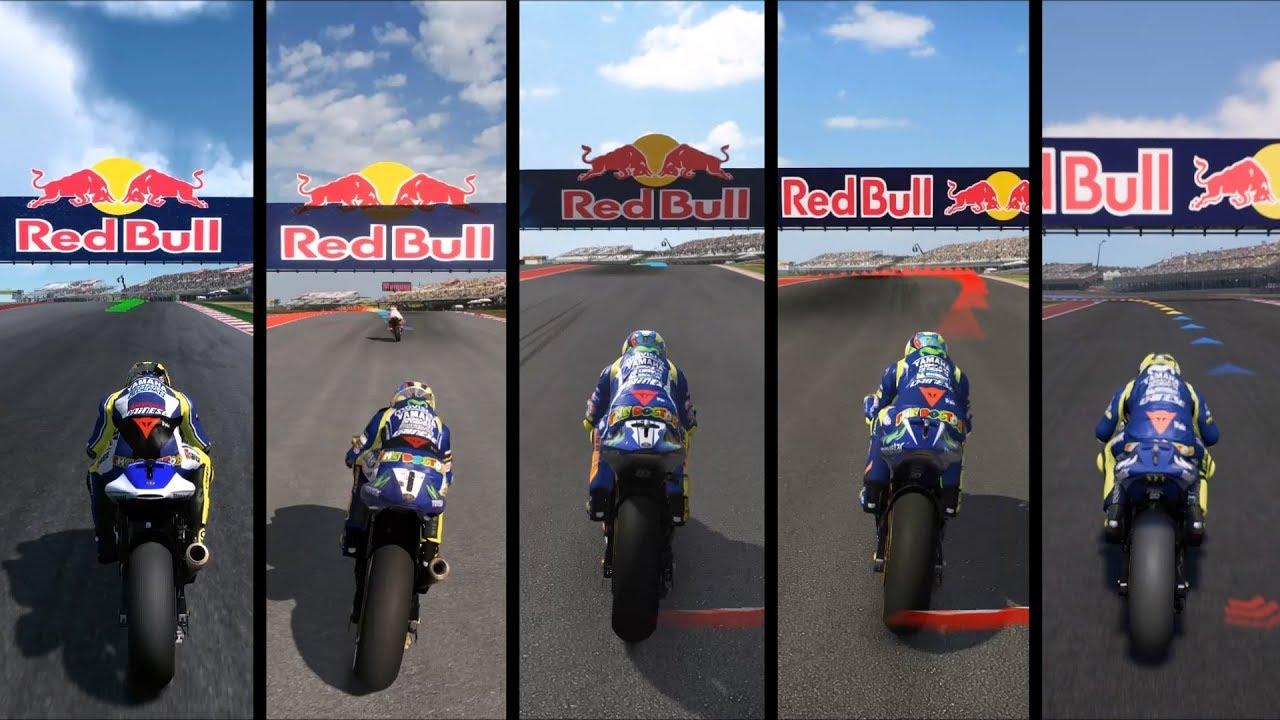 MotoGP 13 vs MotoGP 14 vs MotoGP 15 vs MotoGP 17 vs MotoGP 18 - Gameplay Comparison HD - YouTube