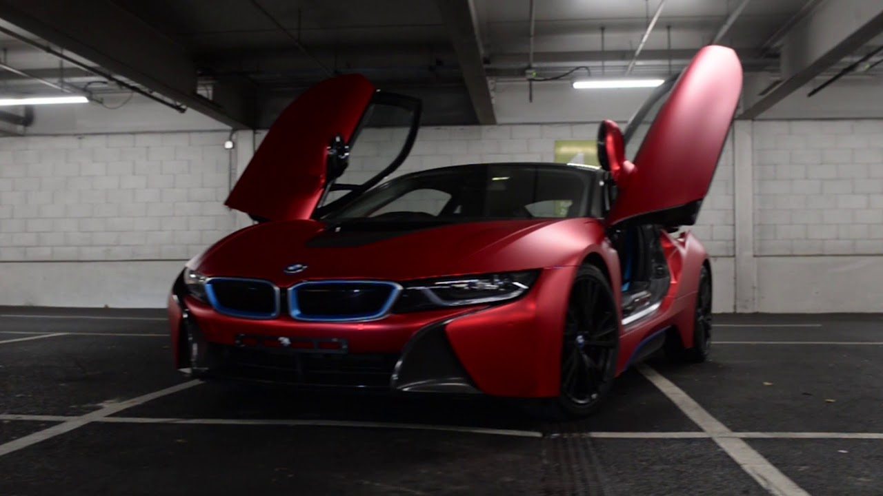 Bmw I8 Wrapped Satin Red Chrome Youtube