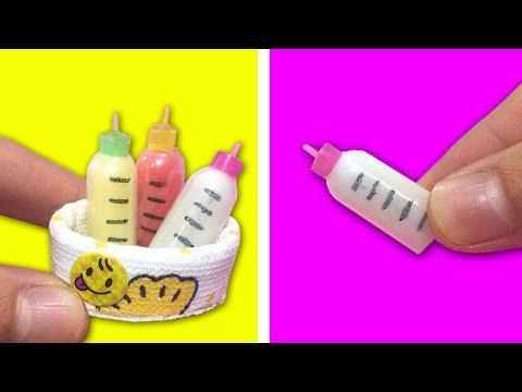 DIY miniature Baby Bottles - Water, and Orange Juice, fruit juice
