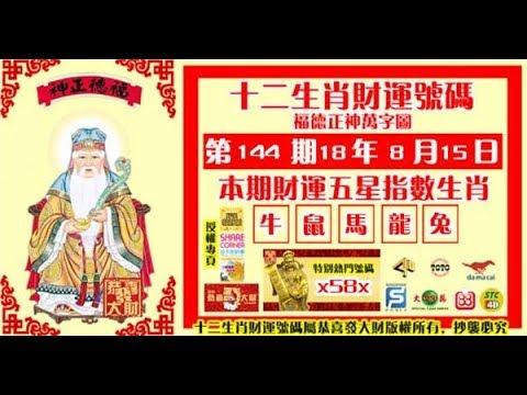 第144期十二生肖財運號碼(8月15號預測)農曆七月橫財旺!