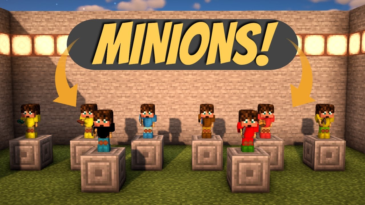 How to Use Minions in Minecraft Skyblock | Automining Autofarming and pretty much autoeverything!