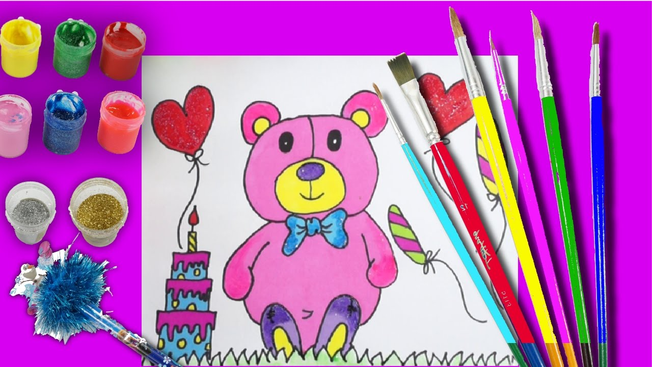 How To Draw A Teddy Bear Drawing For Kids Learning Colors Art For Toddler Youtube