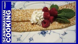 Danish Pancake (pandekage) Recipe. How To Make Traditional Old Fashion Danish Pancakes From Scratch