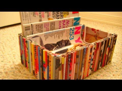 Diy recycled magazine organizer box youtube for Diy magazine box