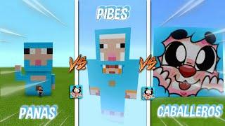 🐑 Los PANAS vs Los PIBES vs Los CABALLEROS - Como Construir a AleGame22YT En Minecraft 🐑 #Shorts