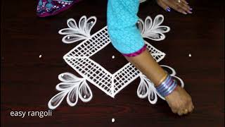 Beginners muggulu designs with 7x1 straight dots  - easy rangoli designs - simple kolam with dots