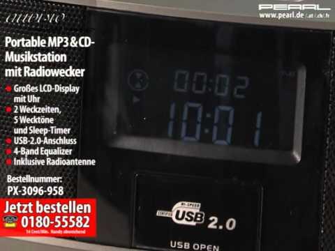 auvisio Portable MP3- & CD-Musikstation mit Radiowecker
