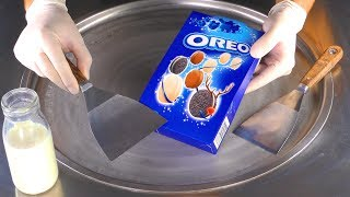 ASMR - OREO Cookies Ice Cream Rolls | tapping, crushing, chopping and scratching Sound for relaxing