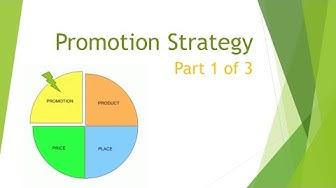 Marketing Mix: Promotion Strategy part 1