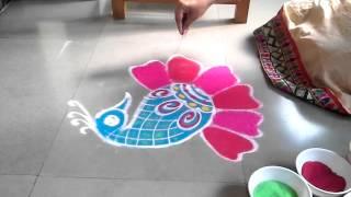 how to make peacock rangoli design diwali special