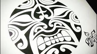 Рисуем злющего тики  | Эскизы полинезийской татуировки