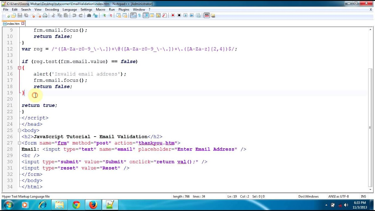 JavaScript Tutorial - Email Validation, Check email address format ...