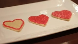 Decorating A Sugar Cookie With Royal Icing & Colored Sugar On Valentine's Day : Icing & Frosting