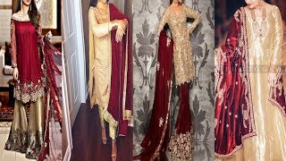 Red With Golden Combination Suit Desine||Party Wear Red And Golden Dress.