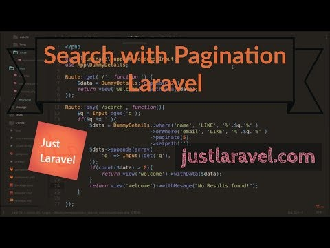 Paginated data with Search functionality - laravel - Just