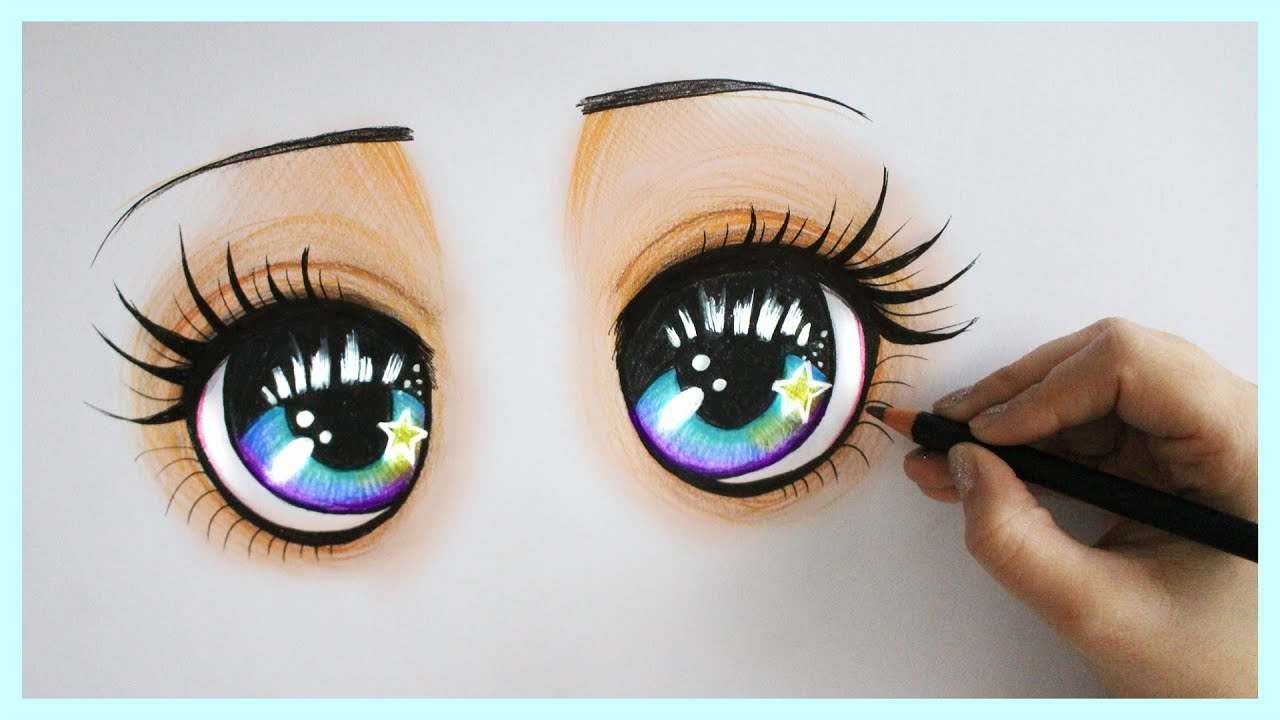 Sparkly Magical Girl Wallpaper Drawing Tutorial How To Draw And Color Sparkly Blue Eyes