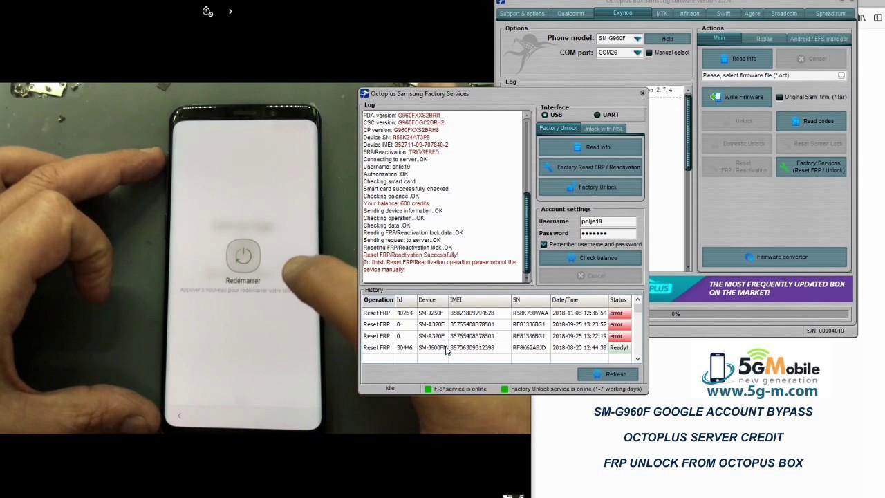 SAMSUNG S9 SM-G960F 8 0 FRP Unlock GOOGLE ACCOUNT REMOVE