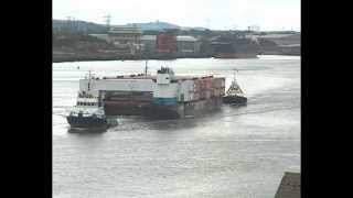 Sections of New Aircraft Carrier HMS Prince of Wales leave the River Tyne 24th August 2014