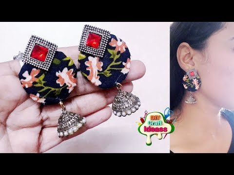 How to make fabric earring Jhumka at home | Fabric Earring | diy craft ideas